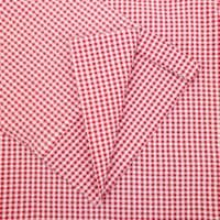 Grenouille Ladies 3/4 Sleeve Red and White Gingham Check Seersucker Shirt